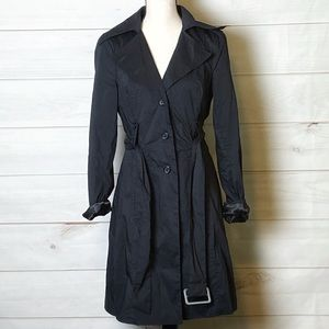 NWPT Bebe Ladies Black Fit/Flair Trench Coat Sz.SM